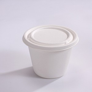 ZZ Eco Products Biodegradable Sugarcane Bagasse Soup Cup Lid-Fits 16oz-500 count box