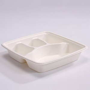 ZZ Eco Products SC94 Rectangle Biodegradable Bagasse 3-Compartments-Food Container