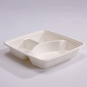 ZZ Eco Products SC93 Rectangle Biodegradable Bagasse 3-Compartments-Food Container