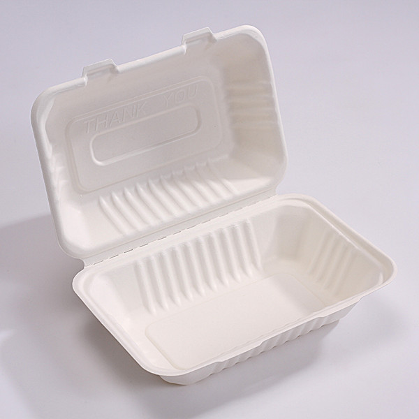 ZZ Biodegradable Rectangle White Sugarcane/Bagasse Clamshell Container-9″ x 6″ x 2 1/2″- 250 count box Featured Image