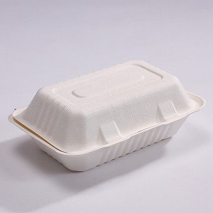 ZZ Biodegradable Rectangle White Sugarcane/Bagasse Clamshell Container-9″ x 6″ x 2 1/2″- 250 count box