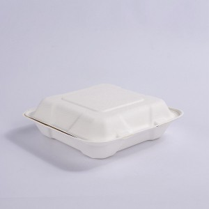 ZZ Biodegradable 8X8 Take Out Hinged Clamshell 200 Pcs. Microwaveable, Disposable Takeout Box to Carry Meals To Go. Great for Restaurant Carryout or Party Take Home Boxes