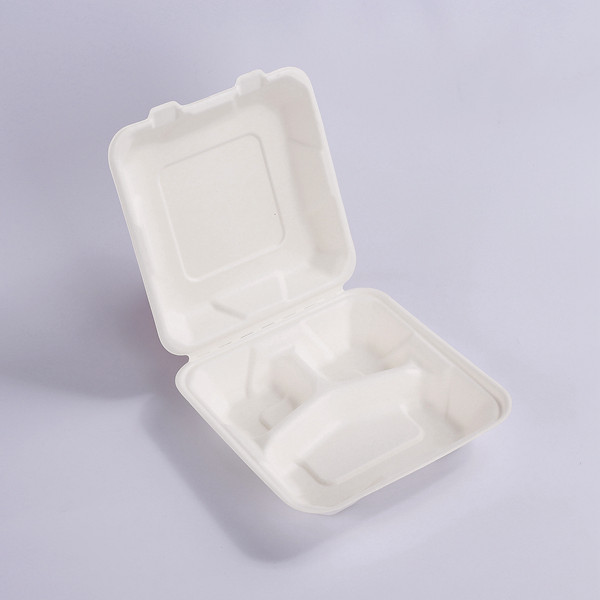 ZZ Biodegradable 8X8 inch 3-Compartments Take Out Hinged Clamshell 200 Pcs. Microwaveable, Disposable Takeout Box to Carry Meals To Go. Great for Restaurant Carryout or Party Take Home Boxes Featured Image