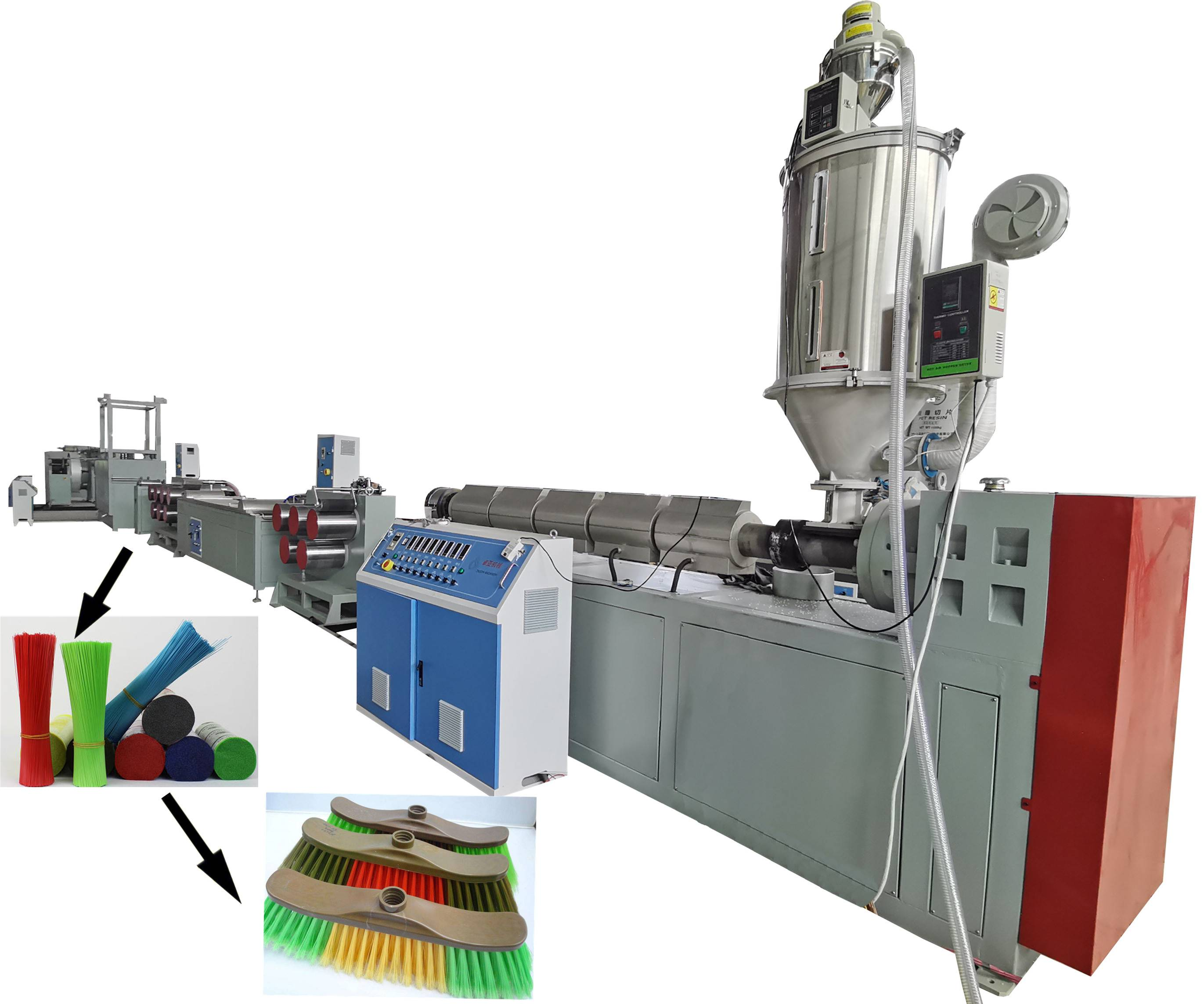 Plastic broom filament extruding machine