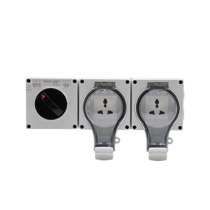 IP66 Water & Dust Protection With See Through Cover New Socket 1 Gang 16A Switch + 2 Gang Multi Socket