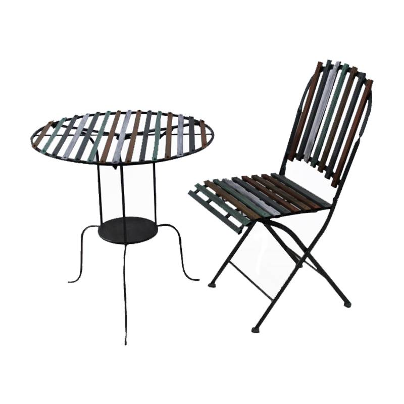 2020 Comfortable Colored metal garden outdoor furniture supplier coffee leisure dining table and chairs Featured Image