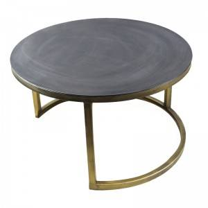 Home Furniture Iron Painting Legs Round Tea Table Cement Top Living Room Coffee Table