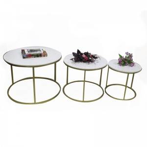 Factory Modern living room furniture home furniture round stainless steel table sets