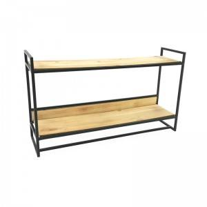 2 Tier Vertical Standing Shelves With Wooden Board Metal Storage Organizer Rack