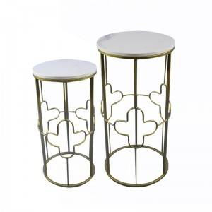 Set of 2 living room furniture modern metal frame gold marble top nesting side coffee table