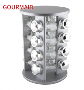 stainless steel rotating spice rack and jars