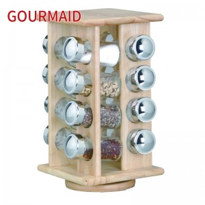 16 jars wooden rotating spice rack