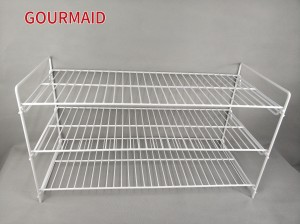 Steel White Stackable Shoe Rack