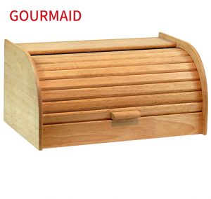 Wooden Bread Bin with Roll Top Lid