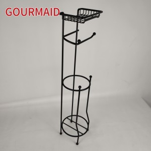 Matt Black Standing Toilet Roll Caddy