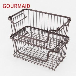Stacking Tiered Metal Wire Basket