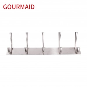 5 hooks zinc alloy coat hanger rail