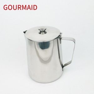 stainless steel milk steaming pitcher with cover