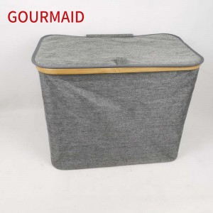 Gray Bamboo Polyester Laundry Hamper