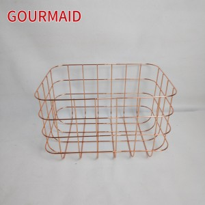 rose gold rectangle wire storage basket