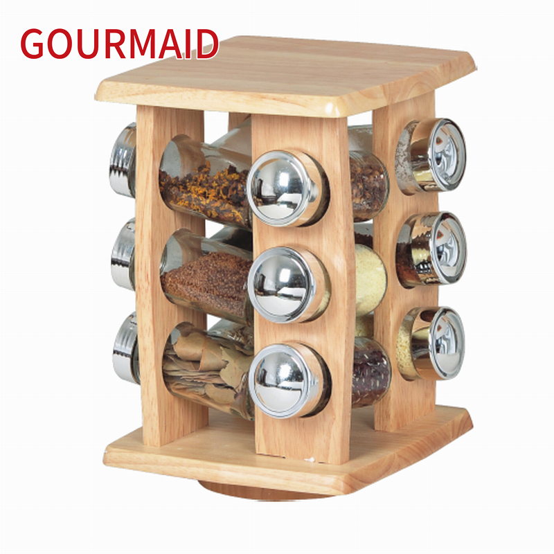 12 jars wooden revolving seasoning rack Featured Image