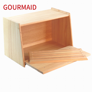 wooden bread box with cutting board