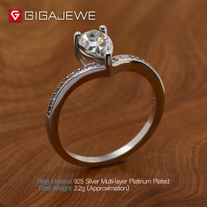 GIGAJEWE Moissanite Ring 1.0ct 6X8mm Pear Cut F Color 925 Silver Gold Multi-layer Plated