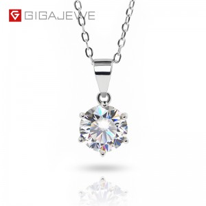 GIGAJEWE 2.0CT 8MM EF VVS ROUND 18K WHITE GOLD PLATED 925 SILVER MOISSANITE NECKLACE