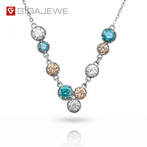 GIGAJEWE 3.6CT EF CYAN GOLDEN ROUND CUT 18K WHITE GOLD PLATED 925 SILVER MOISSANITE NECKLACE
