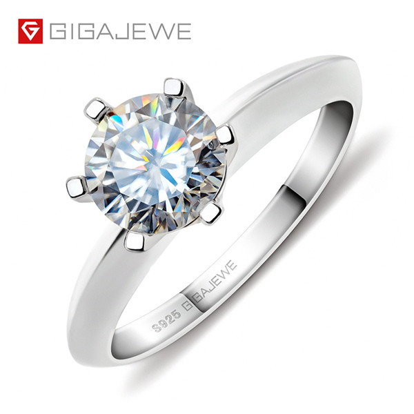 GIGAJEWE 1.0CT 6.5MM EF ROUND 18K WHITE GOLD PLATED 925 SILVER MOISSANITE DIAMOND TEST PASSED RING Featured Image