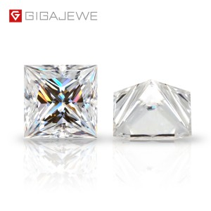 GIGAJEWE D Top Color 0.5-6.0ct Princess Cut Moissanite Loose Diamond Test Passed Gemstone For Jewelry Making Certificate Gift
