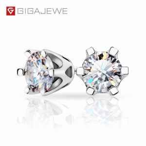 GIGAJEWE EF TOTAL 1CT ROUND CUT DIAMOND TEST PASSED MOISSANITE 18K WHITE GOLD PLATED 925 SILVER EARRINGS
