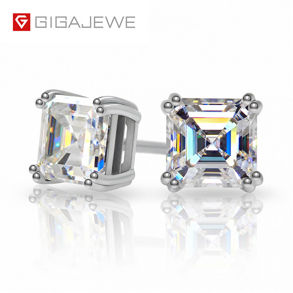 IGAJEWE TOTAL 1.6CT EF ASSCHER DIAMOND TEST PASSED MOISSANITE 18K WHITE GOLD PLATED 925 SILVER EARRING JEWELRY GIRLFRIEND GIFT Featured Image
