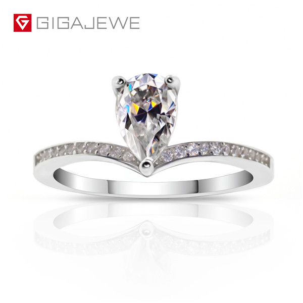 GIGAJEWE Moissanite Ring 1.0ct 6X8mm Pear Cut F Color 925 Silver Gold Multi-layer Plated Featured Image
