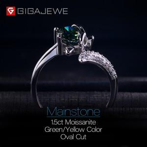 GIGAJEWE 1.5ct VVS1 Oval Cut Diamond Test Passed Lovely Fox 925 Silver Ring Moissanite Jewelry