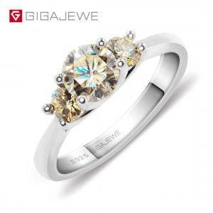 GIGAJEWE Moissanite 1ct 5.5mm+2X3.5mm Round Cut Yellow Color 925 Silver Ring Gold Multi-layer Plated