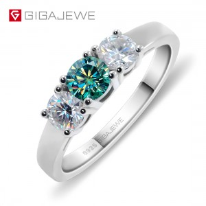 GIGAJEWE Total 1.0ct EF Green VVS1 Round Excellent Cut Diamond Test Passed Moissanite 925 Silver Ring Jewelry