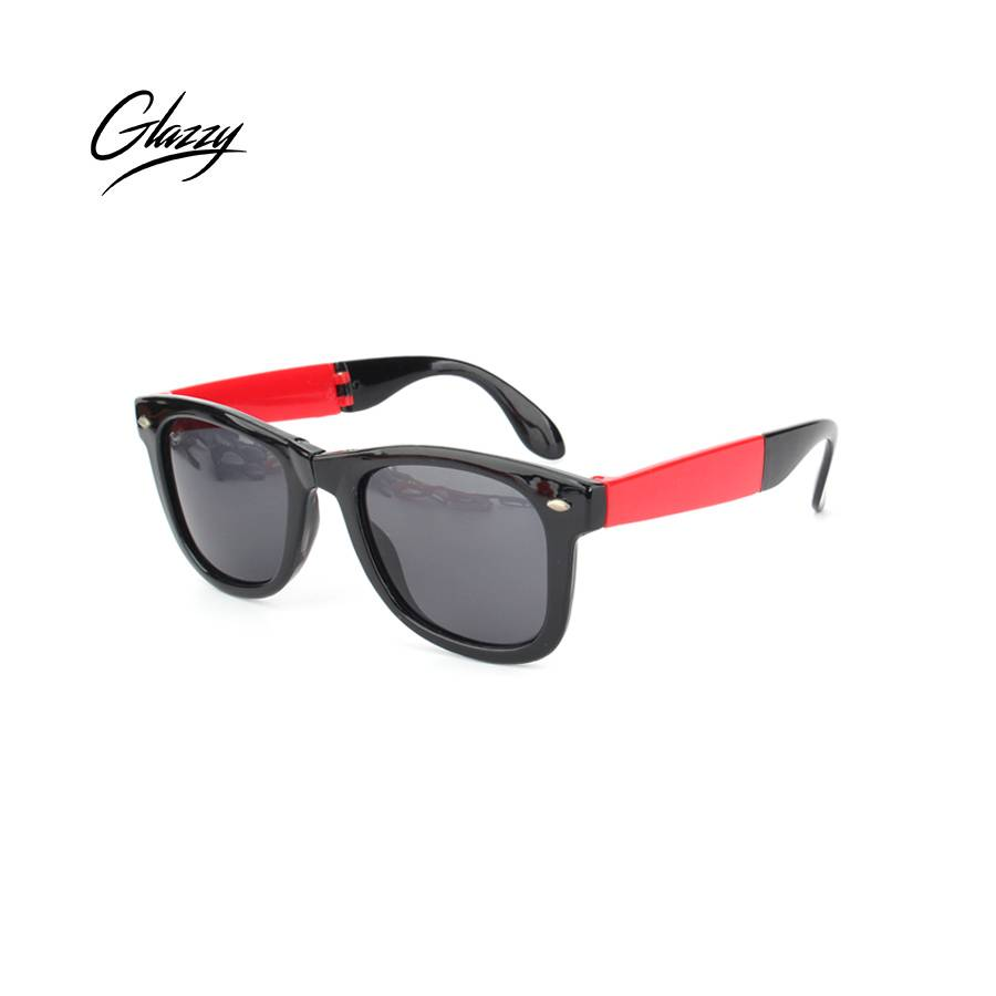 Glazzy Promotional plastic cheap folding Black Red Yellow Sunglasses Foldable Sunglasses