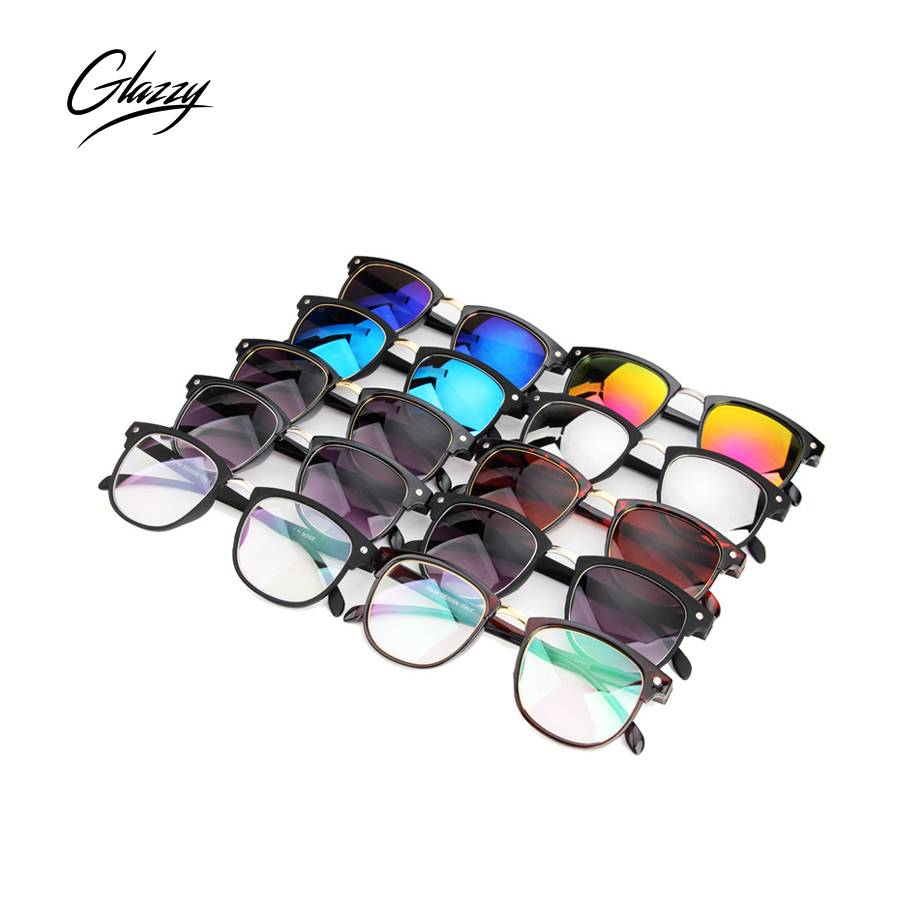 Glazzy 2018 New Trendy Fashion Custom Logo PC Frame AC Lens Mirror Sunglasses Eyewear For Women Men