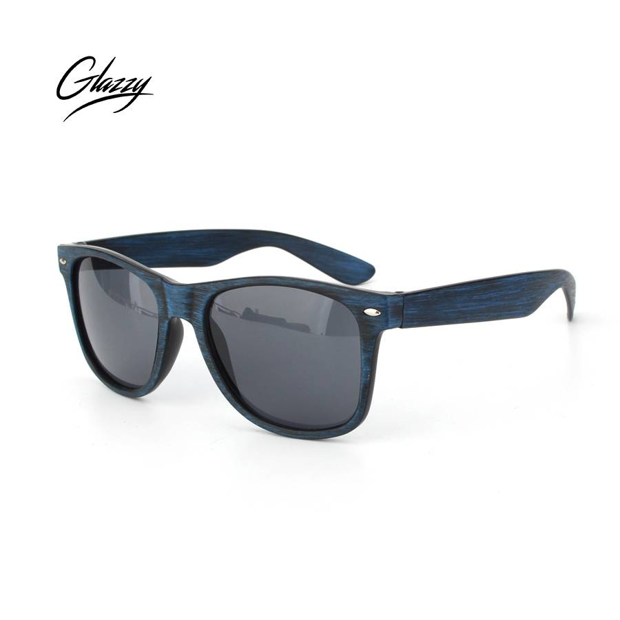 Glazzy PC frame plastic promotional mirrored lens cheap sunglasses wood printed art work promotional sunglasses