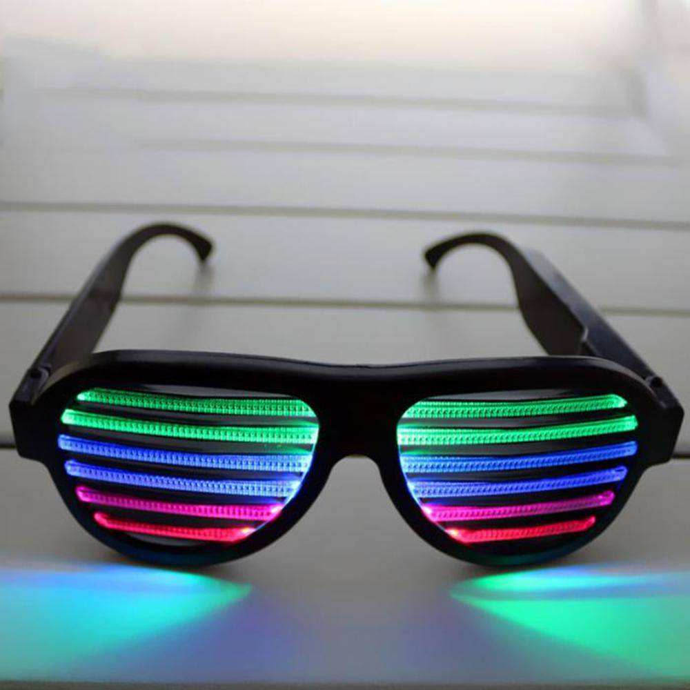 Fashion party sunglasses grow light led sunglasses unisxe OEM Logo LED Voice Control Luminous Glasses, Glow Eye Glasses