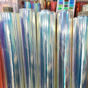 0.4mm Dichroic Iridescent PVC film for making shoes, bags and decoration