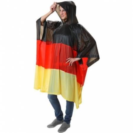 PVC Adult Germany Flag Rain Poncho