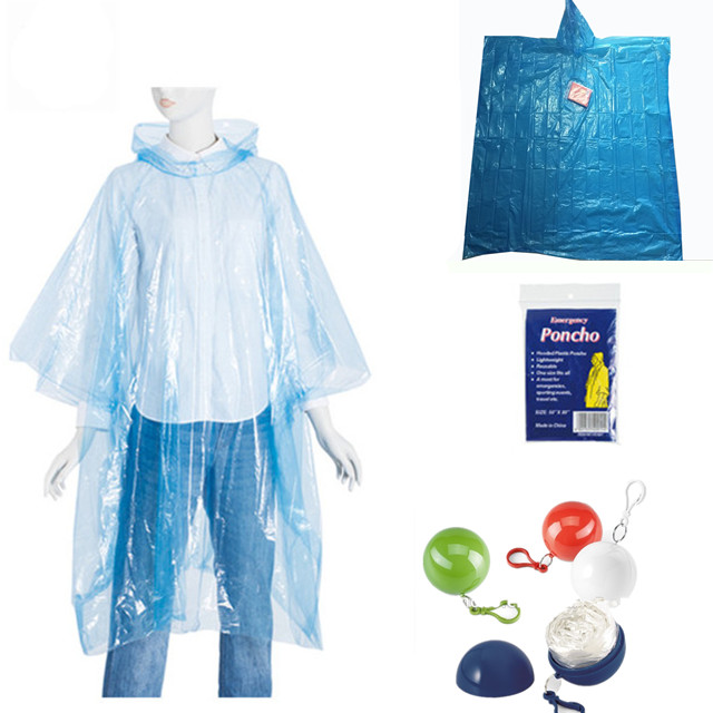 Promotional Disposable Foldable Rain poncho adullt size