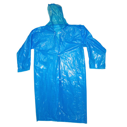 Disposable raincoat hooded with drawstring and sleeves