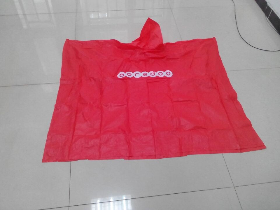 Stock Red pvc poncho with logo