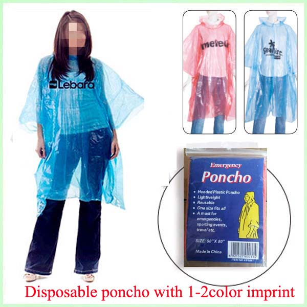 Logo printed disposable PE rain poncho