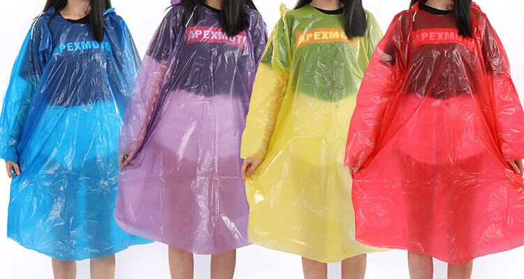 Stock Disposable PE RainCoat with Elastic