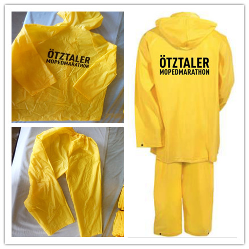 Yellow waterproof raincoat suit