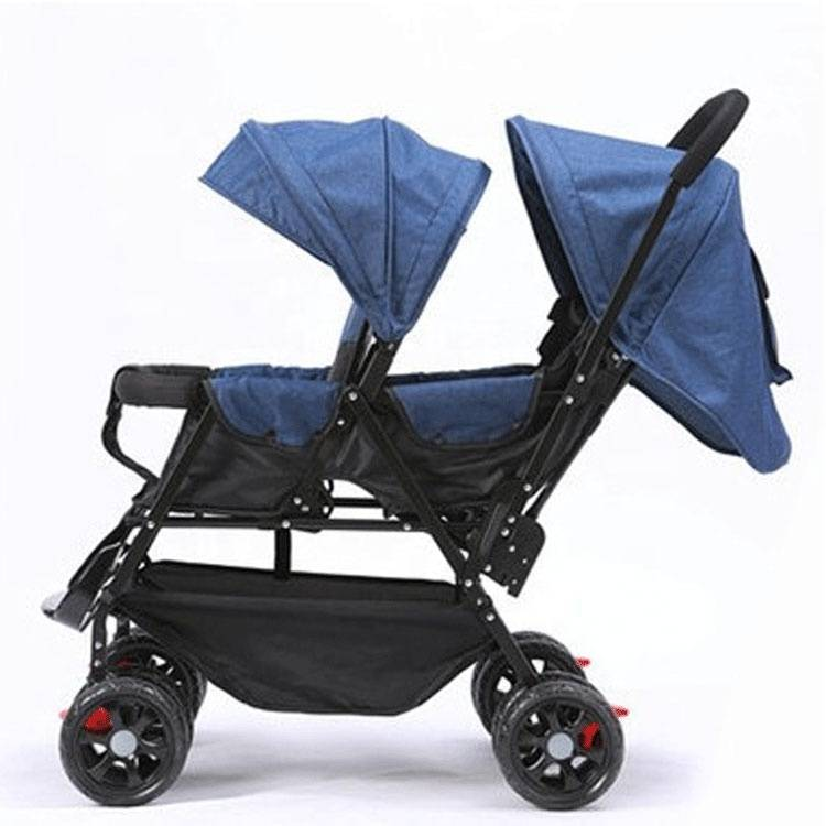 Happy comfortable double seat baby stroller/high quality baby stroller for 2 kids/ Cheap good 2 child stroller
